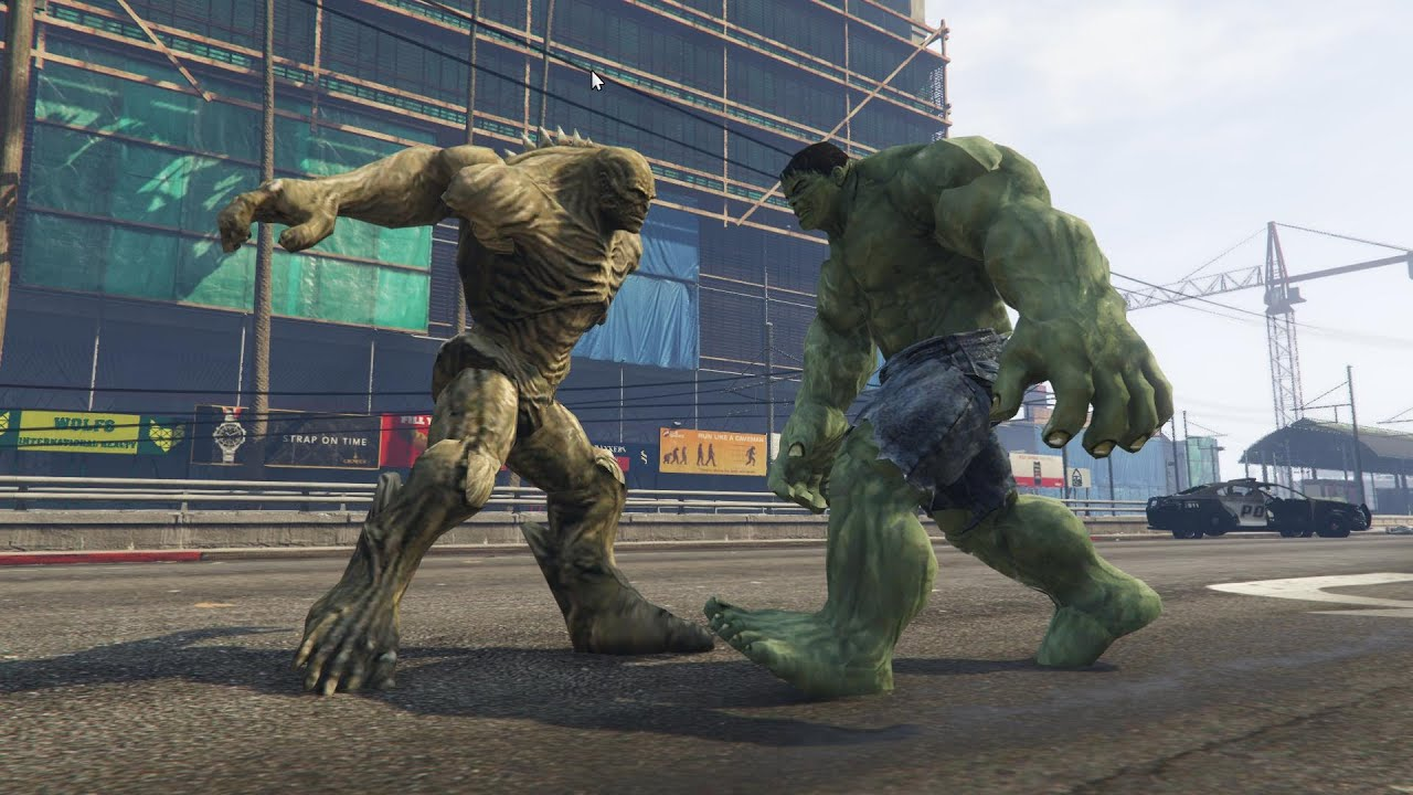 GTA V - HULK vs Abomination enemy - HULK script mod by JulioNIB