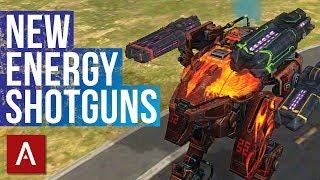 "War Robots Test Server 4.2: New Weapons ""Halo"" ""Corona"" ""Glory""   New Energy Shotgun Gameplay"