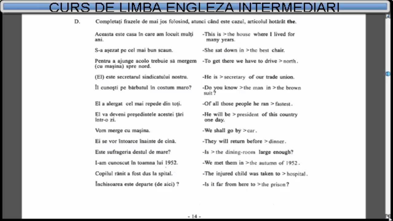 Curs de limba Engleza nivel intermediar (tema+vocabular) - Lectia 1