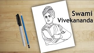 how to draw swami vivekananda | Drawing for kids - step by step drawing, swami vivekananda jayanti