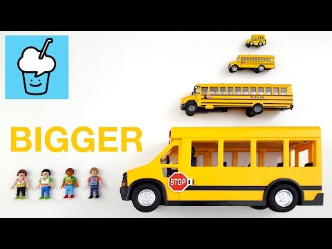 Learning bigger and bigger for kids with playmobil school bus