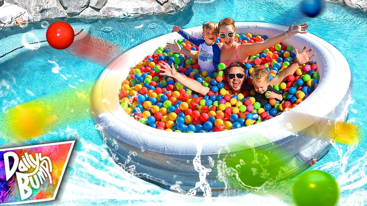 HUGE FLOATING BALL PIT SWIMMING POOL PARTY! 💦