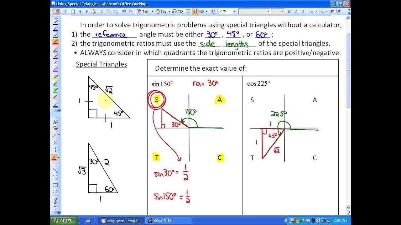 2 2: part 1, lesson 2 (Using Special Triangles to Solve Trig Problems)