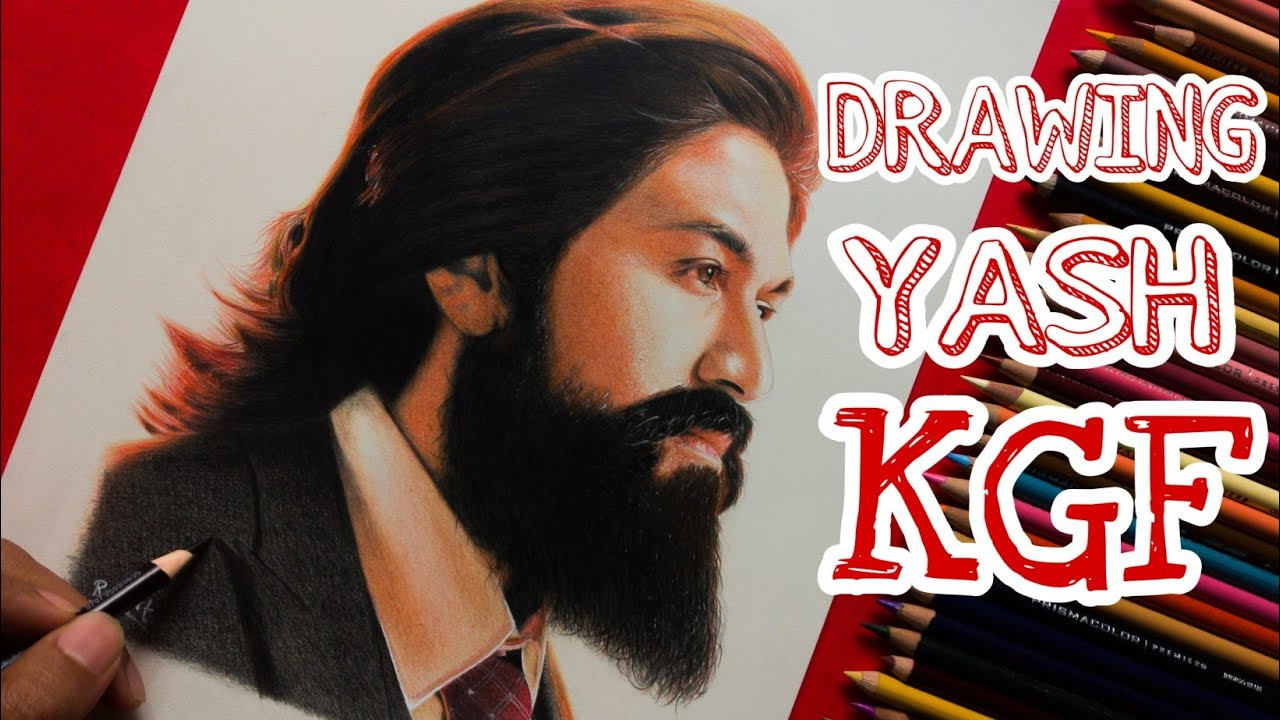 Realistic Drawing | YASH | KGF | Colour pencils - YouTube