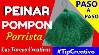 PEINAR POMPON DE RAFIA ¡LA MEJOR MANERA!! Tutorial - Las Tareas Creativas
