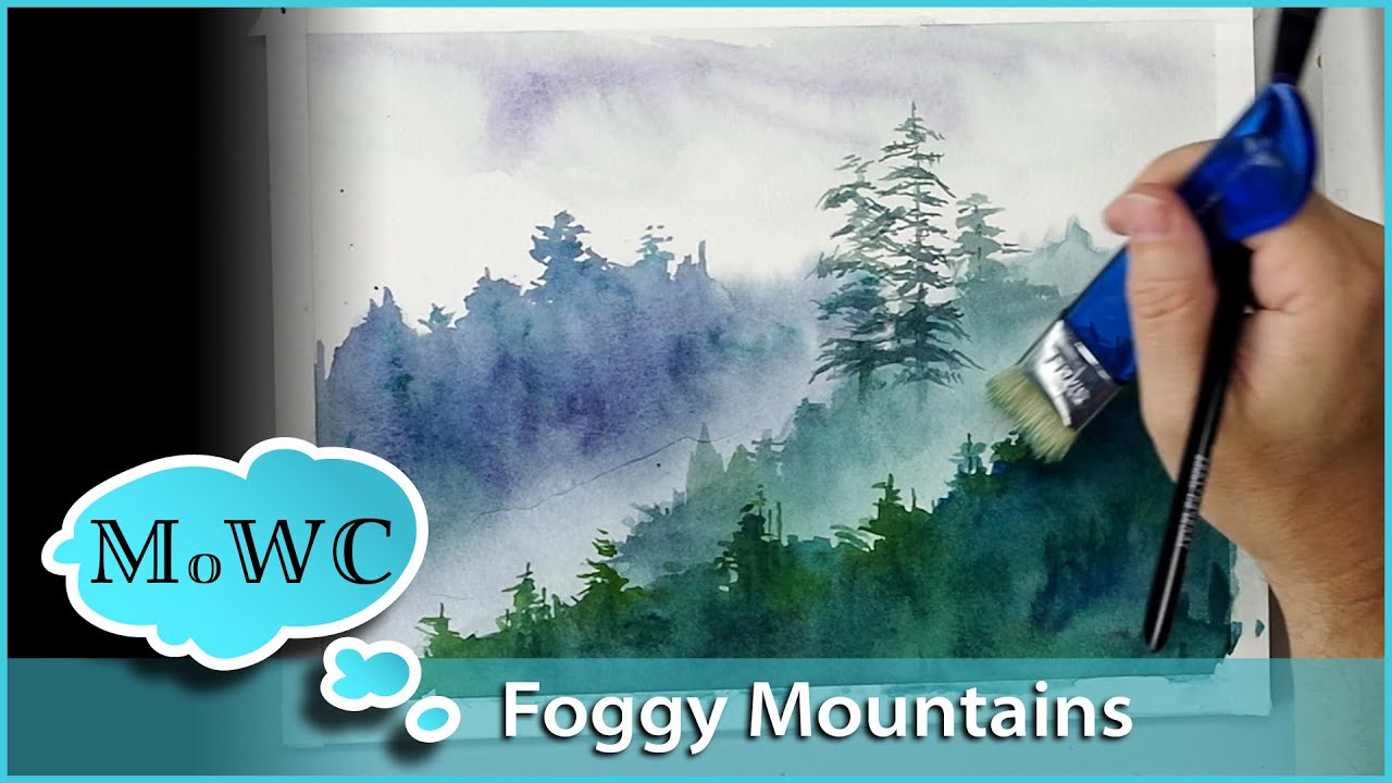 Painting Foggy Misty Mountains In Watercolor Youtube