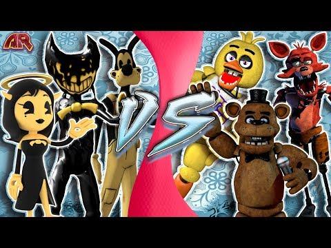 ALICE ANGEL, BORIS, BENDY vs FREDDY, FOXY, CHICA! (Bendy and The Ink Machine vs FNAF Animation) CFC