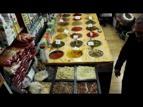 A shop of spices, dried fruit and incense at the Arab market of Jerusalem's Old City