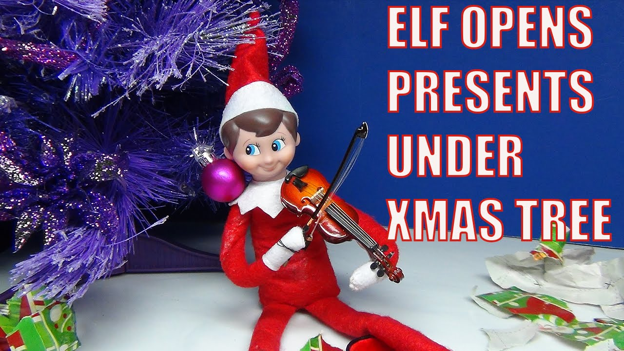 Karate christmas ornament - Elf On The Shelf Opened The Presents Under Christmas Tree Plays Violin And Does Karate