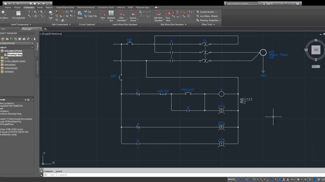 draw a single phase dol starter using autocad electrical - youtube  youtube