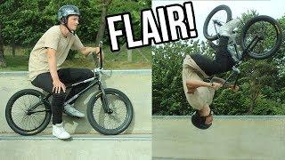 HIS FIRST BMX FLAIR TO CONCRETE!
