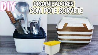 DIY: 2 ORGANIZADORES COM POTE DE SORVETE Por Morgana Alves