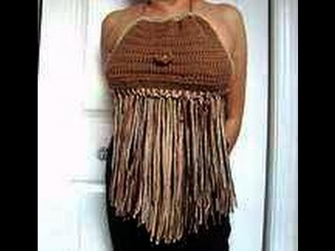 FRINGED CROCHETED BOHEMIAN SUMMER HALTER TOP, any size - YouTube