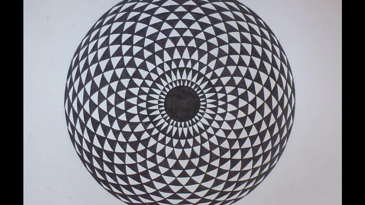 comment dessiner une illusion d 39 optique 3d mandala youtube. Black Bedroom Furniture Sets. Home Design Ideas