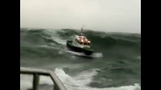 Pilot boats 1& 2, Azores.  Part 2, force 9 & 5m waves.mpg