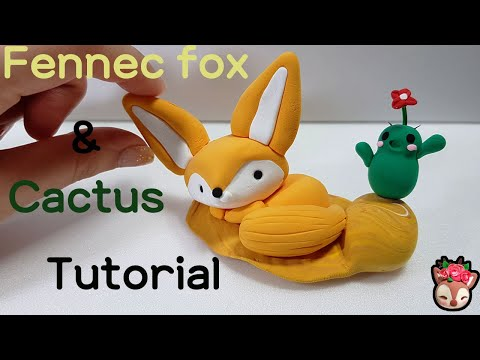 endangered animals clay craft - Fennec fox & Cactus