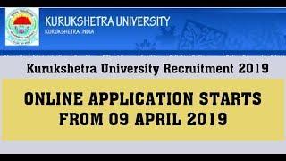 Kurukshetra University Recruitment 2019