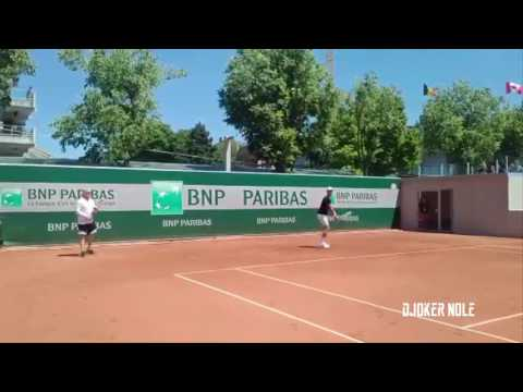 Novak Djokovic First Practice with Andre Agassi - Roland Garros 2017