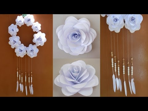 DIY White Paper Roses Bead Wind Chime for Wall Decoration (Dream Catcher Paper Flower Idea)