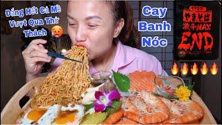 Thử Thách Ăn Hết Hộp Mì Siêu Cay Hết Cấp Độ,Tôm&Nấm Đùi Gà Hấp Sữa,Sashimi Cá Hồi,Trứng Chiên #347