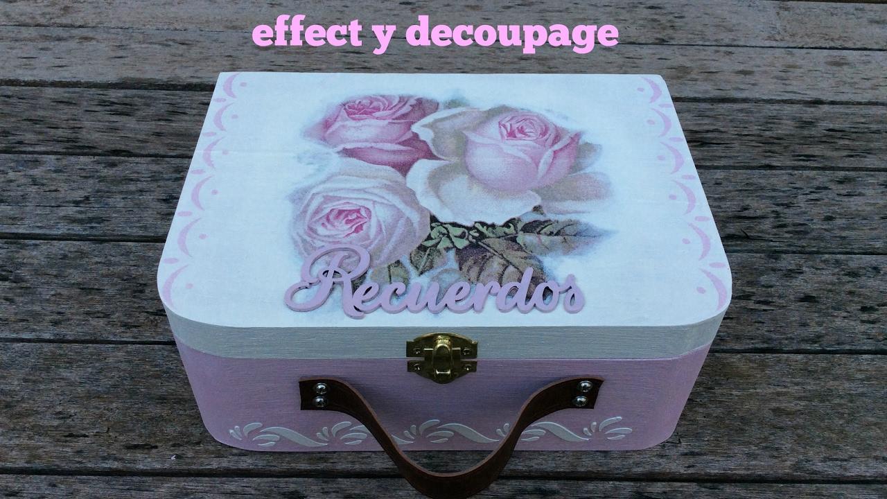 Maleta decorada con chalk paint y servilletas decoupage - Manualidades con cajas de madera ...