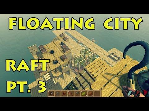Floating City & Stronger Shark! - Raft Game pt. 3