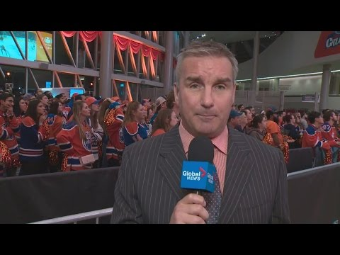 Reporter's live broadcast gets interrupted by Edmonton Oilers winning goal