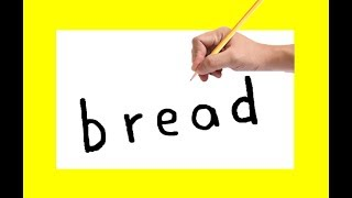 How to turn word BREAD using the same words bread in to cartoon for kids drawing