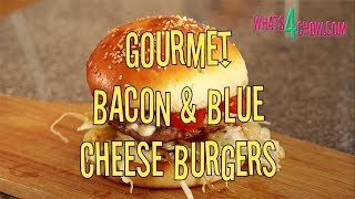 Gourmet Blue Cheese Bacon Burger. Premium Bacon & Beef Patty Stuffed With Blue Cheese.