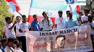 students march on jnu student najib ahmed issue at nanded