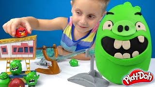 Angry Birds PIGS KINDER Play-doh Surprise Egg with Angry Birds Bling Bags & Toys Unboxing | KIDCITY