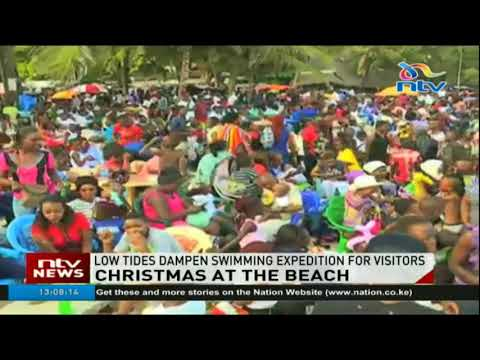 Thousands of Kenyans throng beachfronts in Mombasa