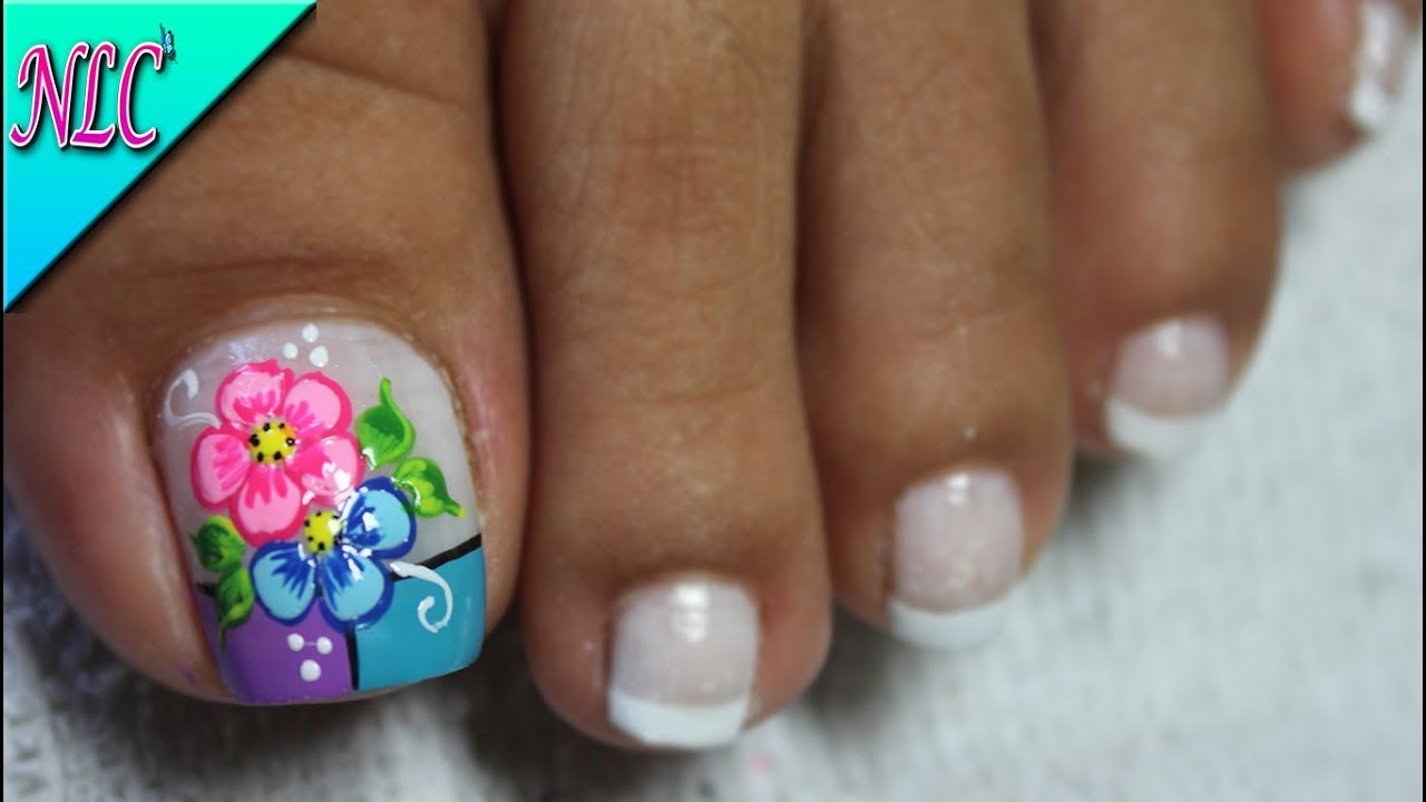 Decoración De Uñas Para Pies Flores Y Francés Flowers Nail Art French Nail Art Nlc
