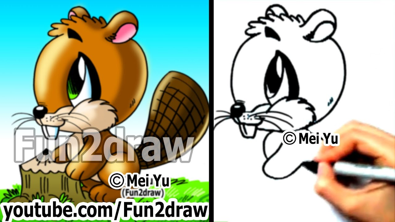 how to draw easy cartoons how to draw a beaver draw animals