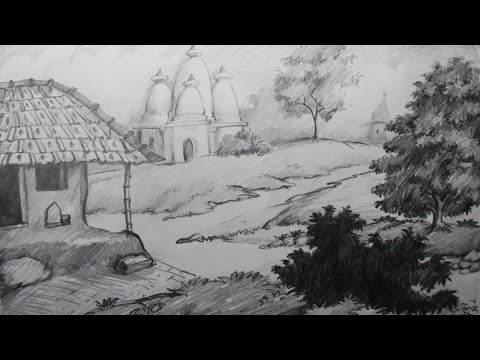 How to Draw a Village Scenery with Pencil | Step by Step | E