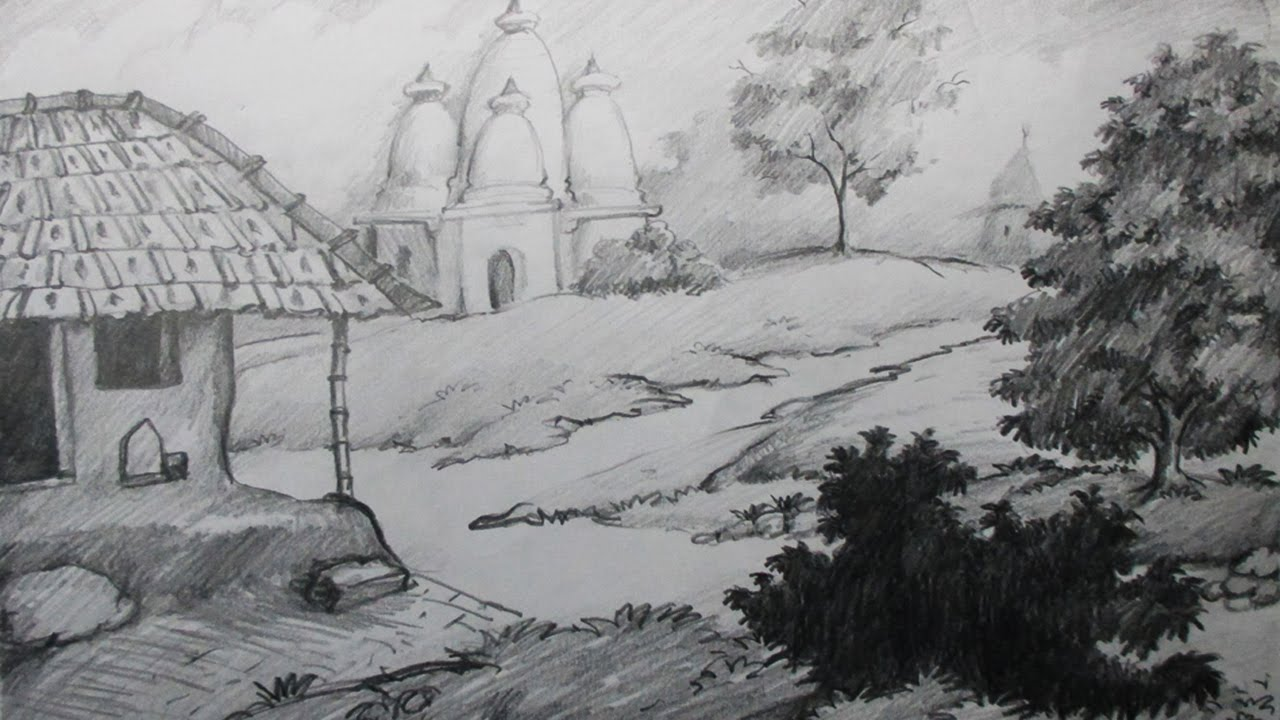 How to draw a village scenery with pencil step by step epi 2