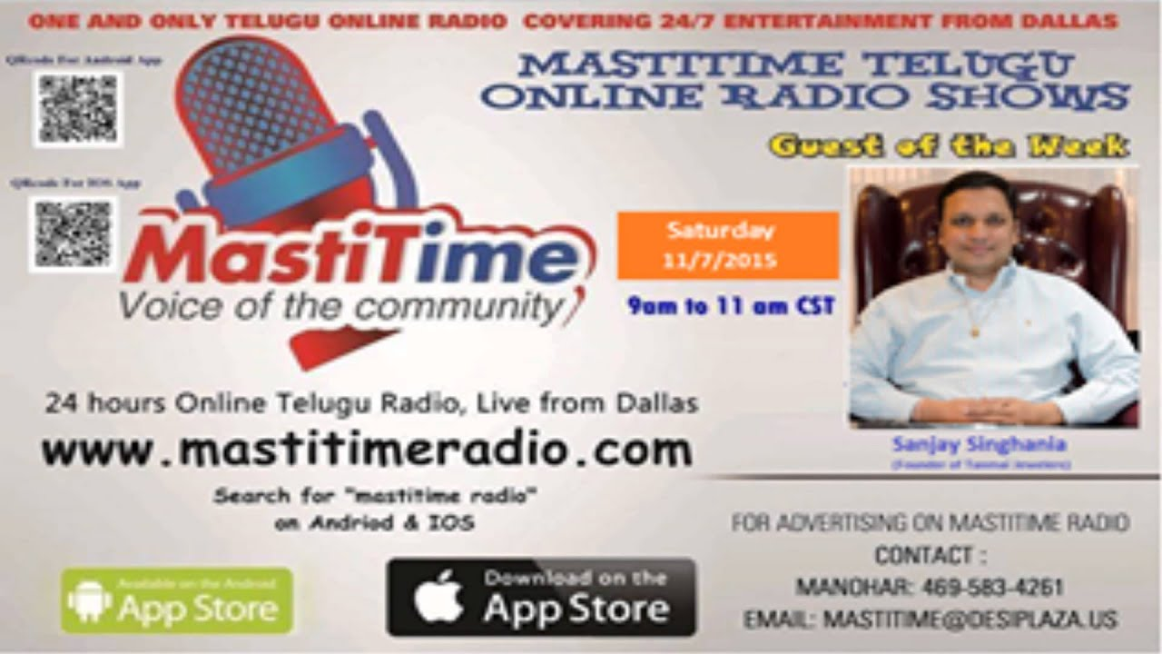 Guest of the Week I Sanjay Singhania I 08 Nov 2015 I Mastitime Radio