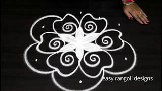 Creative kolam with 5 dots || easy rangoli designs || cute muggulu