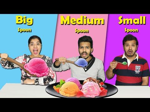Big Vs Medium Vs Small Spoon Food Challenge | Hungry Birds