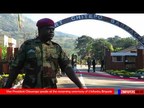 Vice President Chiwenga speaks at the renaming ceremony of 3 Infantry Brigade