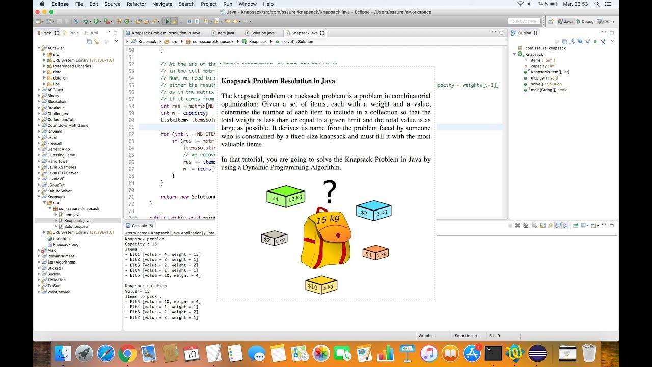 Solving the Knapsack Problem in Java - Sylvain Saurel - Medium