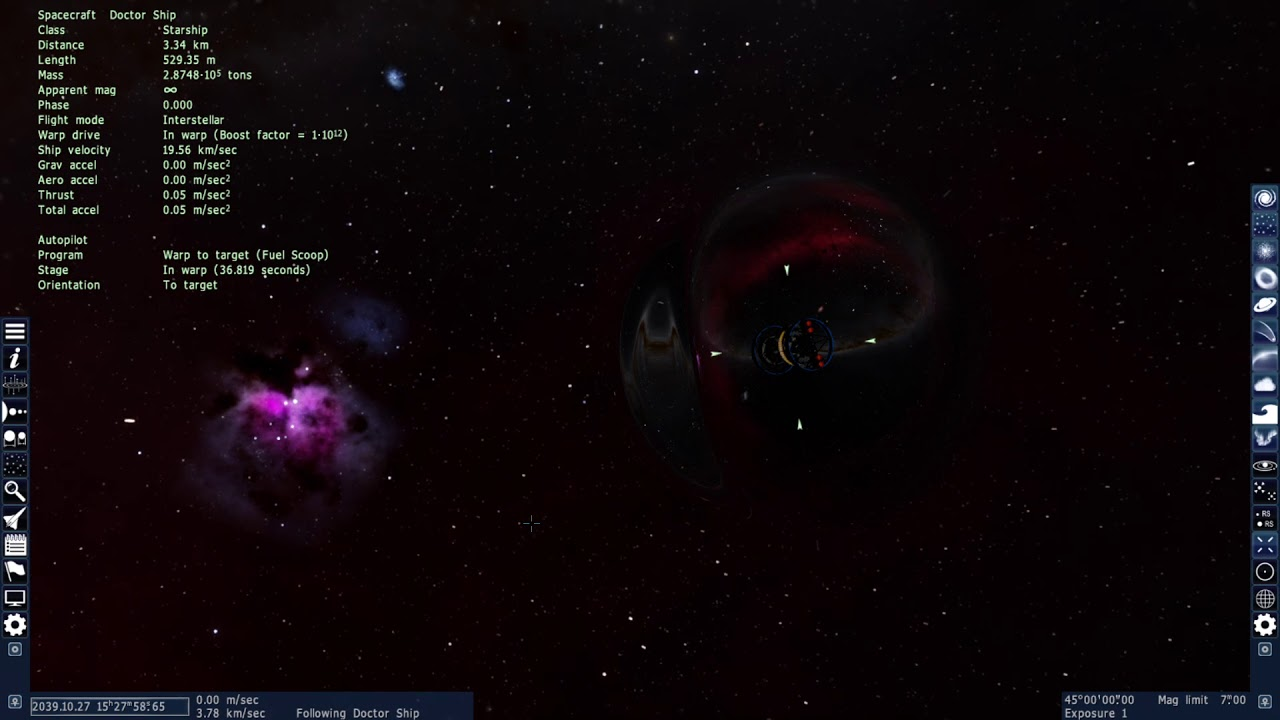 Star Ship warping to an exoplanet in Space Engine