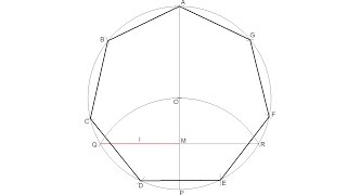How to draw a regular heptagon inscribed in a circle