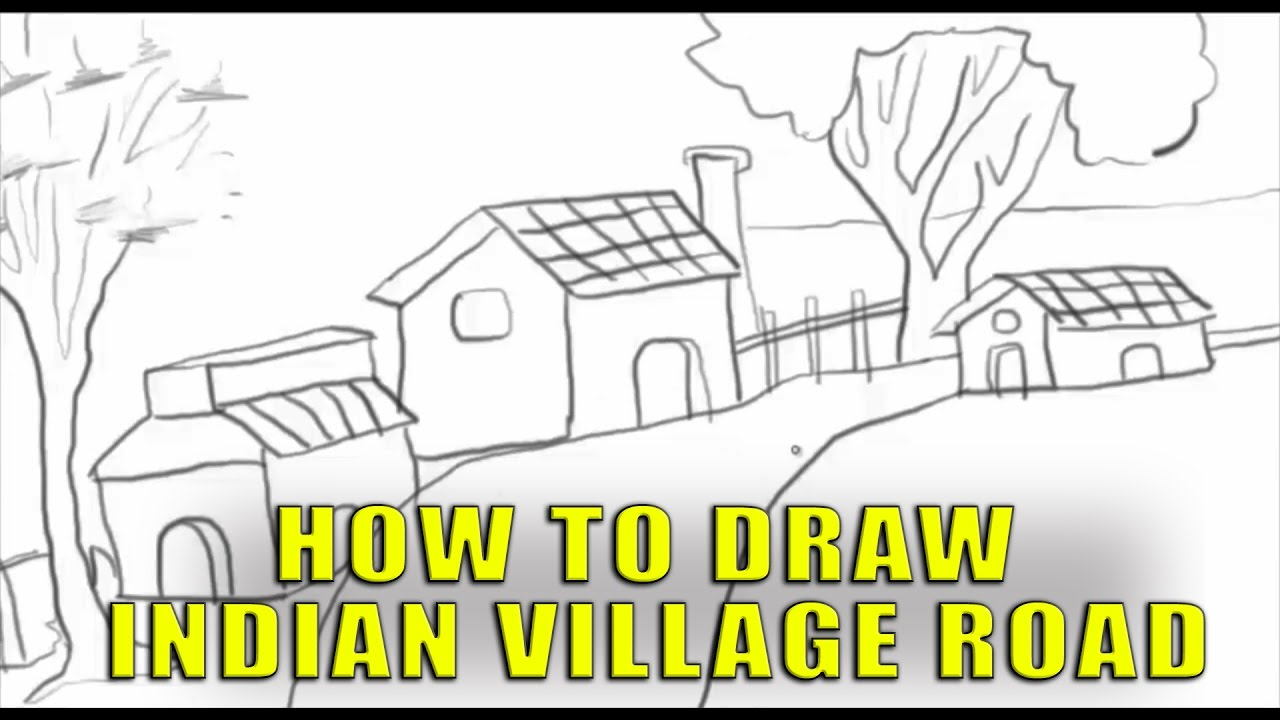 drawing an indian village road sketches for kids pencil drawing by silly kids - Sketches For Kids