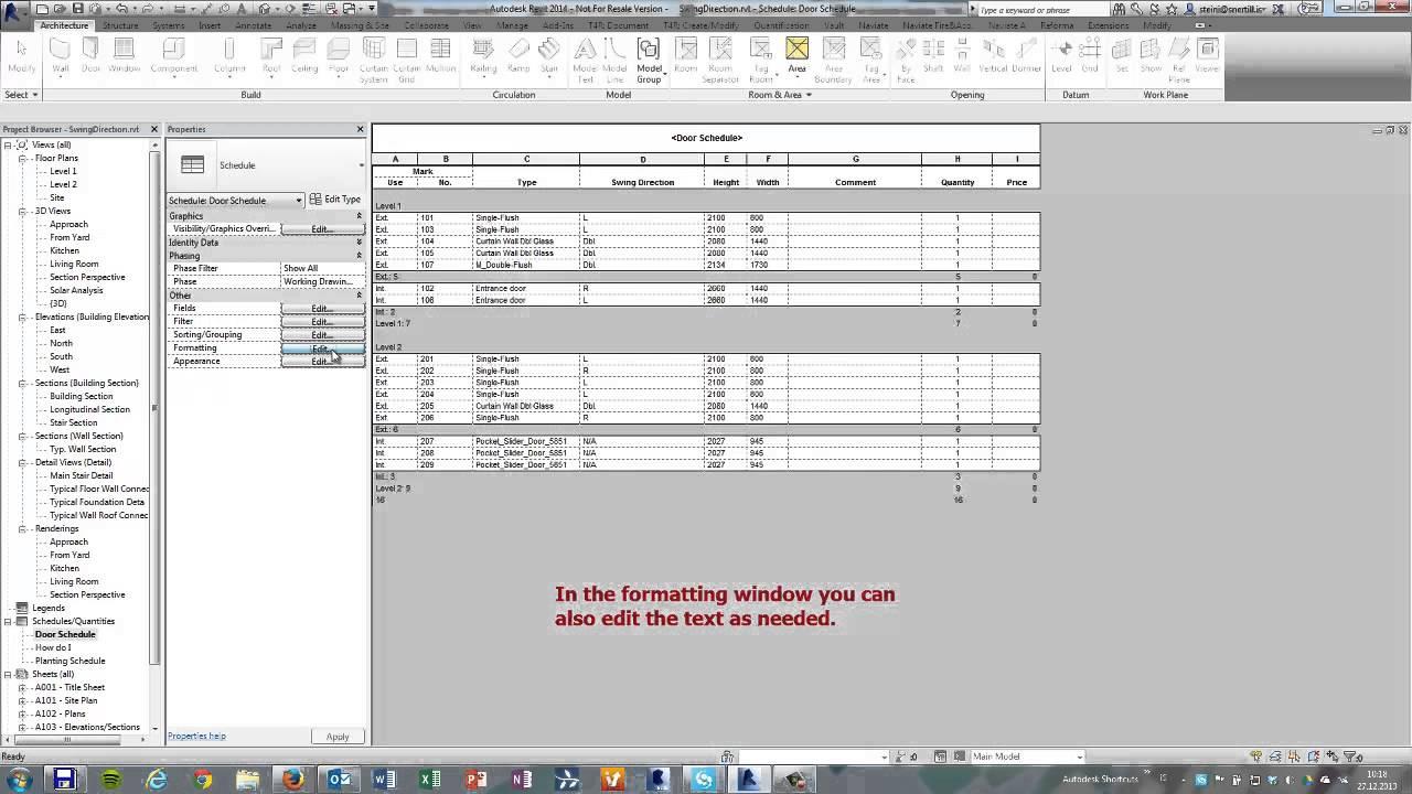 Revit 2014 Change The Swing Direction Header In A Door Schedule
