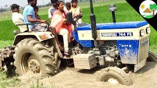Village Girl vs Swaraj tractor/ Swaraj 744 tractor  using village girl cultivation / VILLAGE GiRL