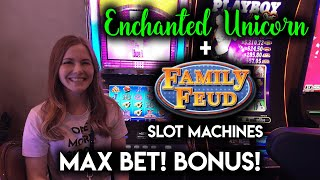 MAX BET BONUS! First Time Getting the Free Spins on the Family Feud Slot Machine!