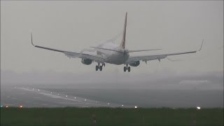 Foggy Arrivals & Departures at Birmingham Airport - 21/04/2014