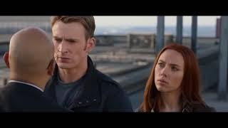 Капитан Америка с Черной Вдовой сбрасывают агента с крыши ||