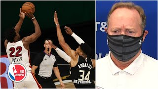 Mike Budenholzer disappointed in final-second foul call in Game 2 loss | 2020 NBA Playoffs